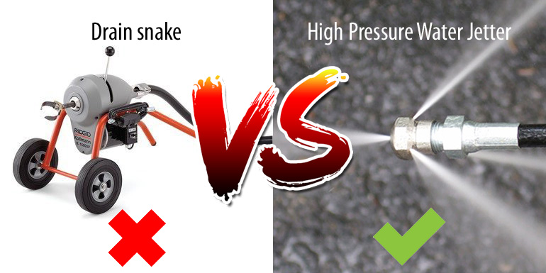 drain snake vs high pressure water jetter
