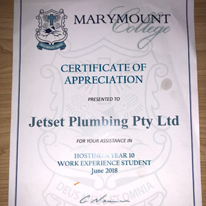 Certificate of Appreciation - Marymount College